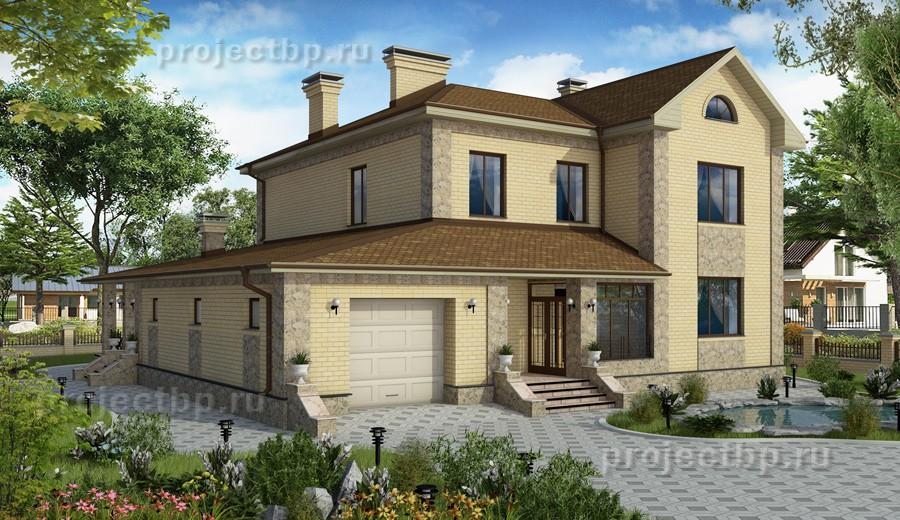 Проект светлого двухэтажного дома с гаражом  D-235